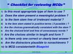 checklist for reviewing mcqs