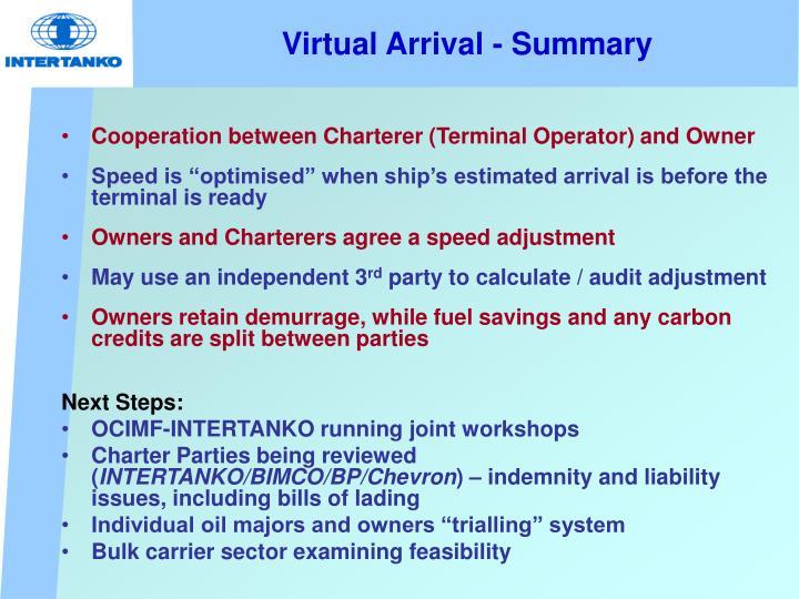 Virtual Arrival - Summary