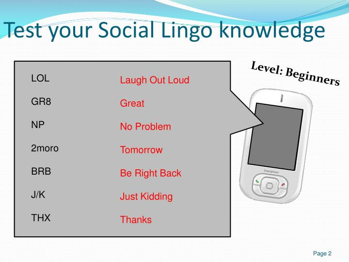 Test your Social Lingo knowledge