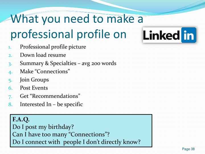 What you need to make a professional profile on