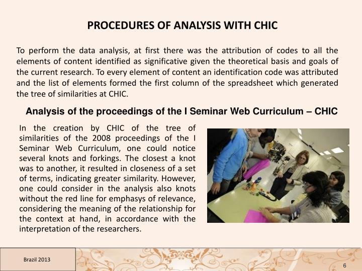 PROCEDURES OF ANALYSIS WITH CHIC
