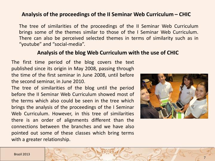Analysis of the proceedings of the II Seminar Web Curriculum – CHIC