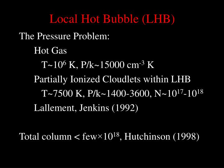 Local Hot Bubble (LHB)