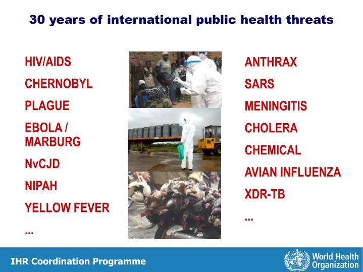 30 years of international public health threats