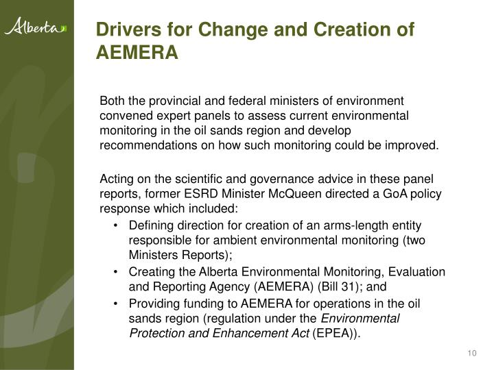 Drivers for Change and Creation of AEMERA