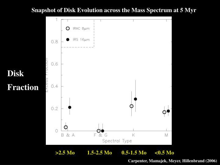 Snapshot of Disk Evolution across the Mass Spectrum at 5 Myr