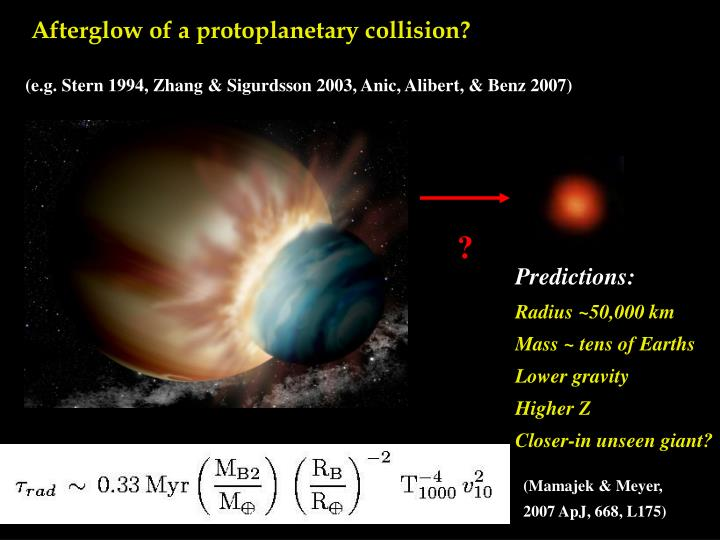 Afterglow of a protoplanetary collision?