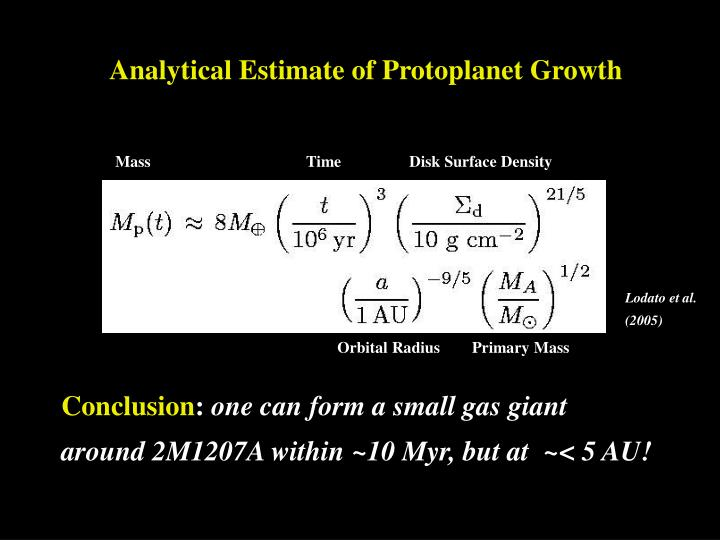 Analytical Estimate of Protoplanet Growth