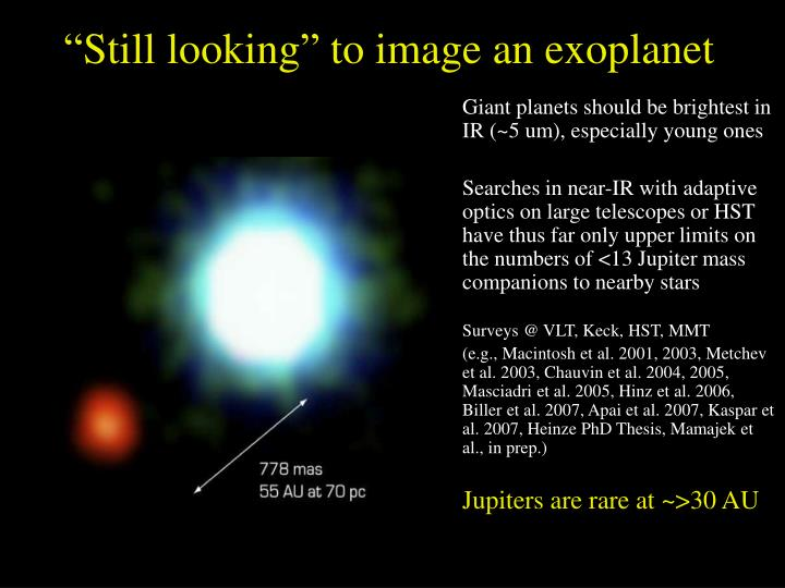 """""""Still looking"""" to image an exoplanet"""