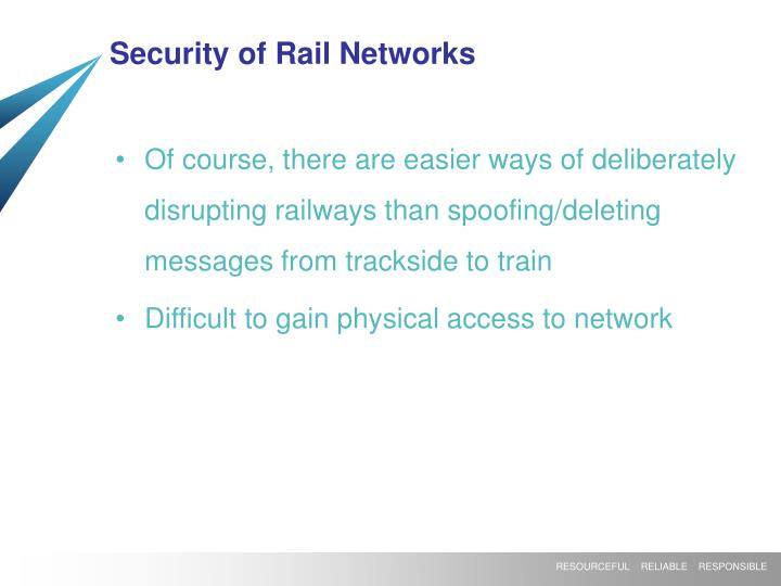 Security of Rail Networks