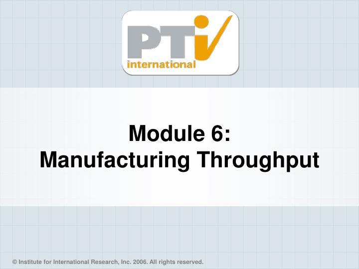 Module 6 manufacturing throughput