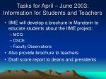tasks for april june 2003 information for students and teachers