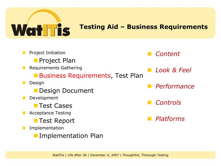 Testing Aid – Business Requirements
