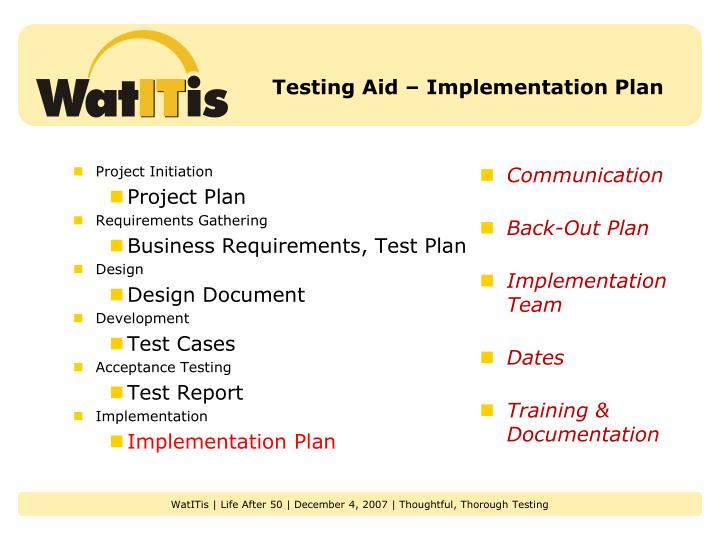 Testing Aid – Implementation Plan