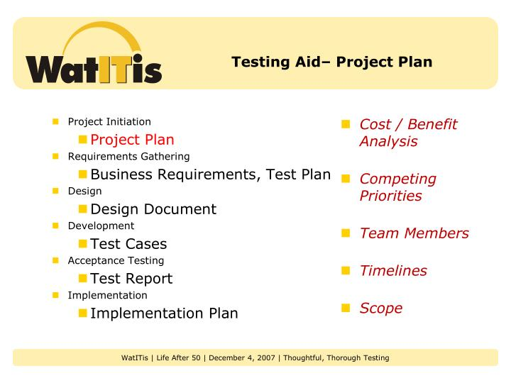 Testing Aid– Project Plan