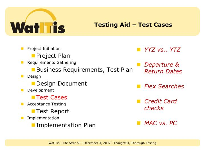 Testing Aid – Test Cases