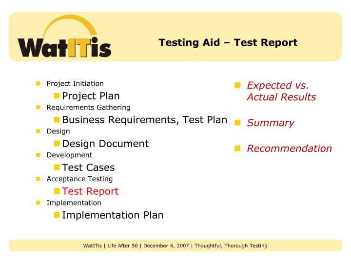 Testing Aid – Test Report