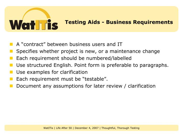 Testing Aids - Business Requirements