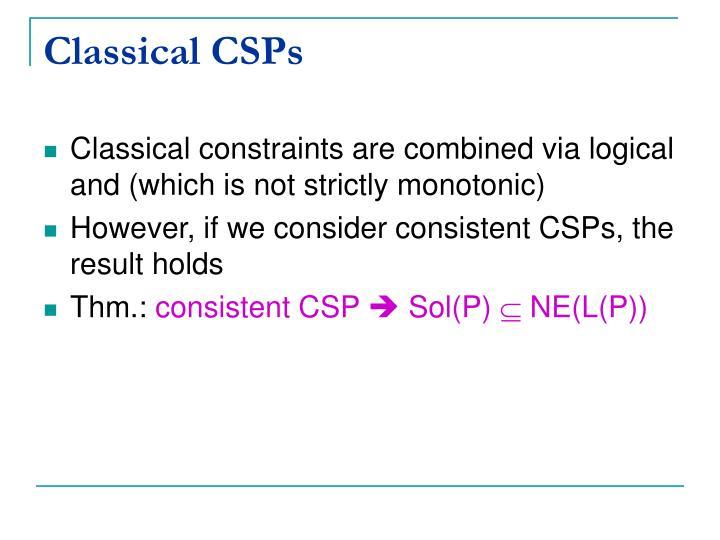 Classical CSPs