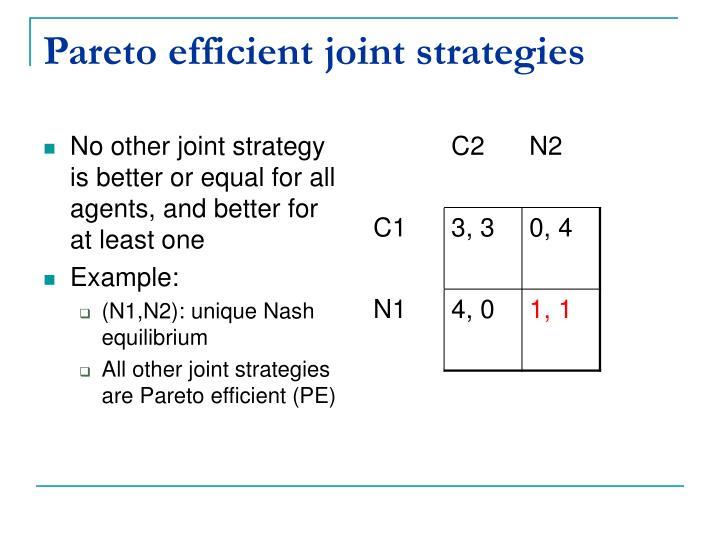 Pareto efficient joint strategies