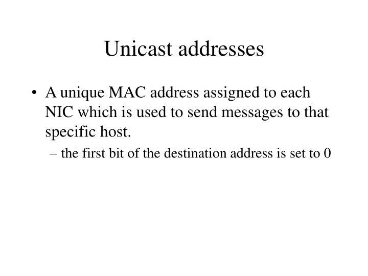Unicast addresses
