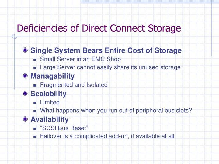Deficiencies of Direct Connect Storage