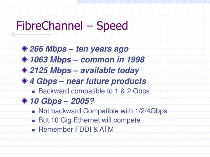 FibreChannel – Speed