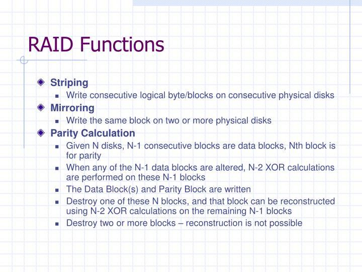 RAID Functions
