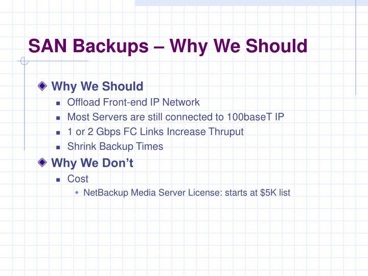 SAN Backups – Why We Should