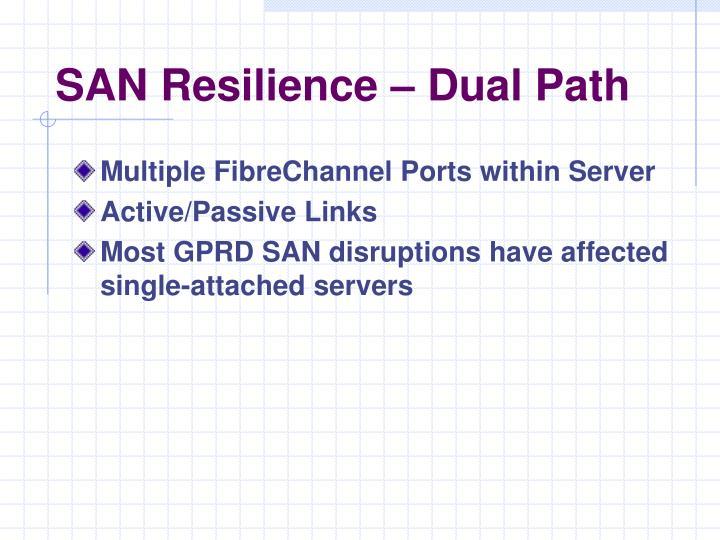 SAN Resilience – Dual Path