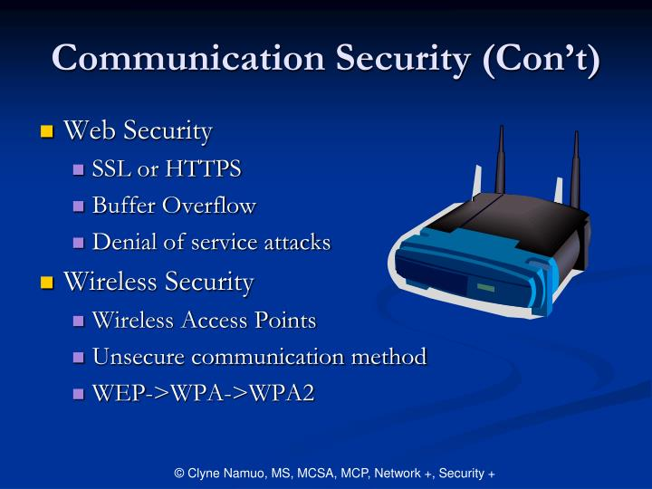 Communication Security (Con't)