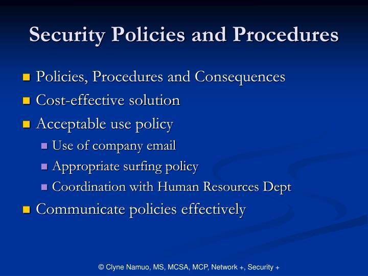 Security Policies and Procedures