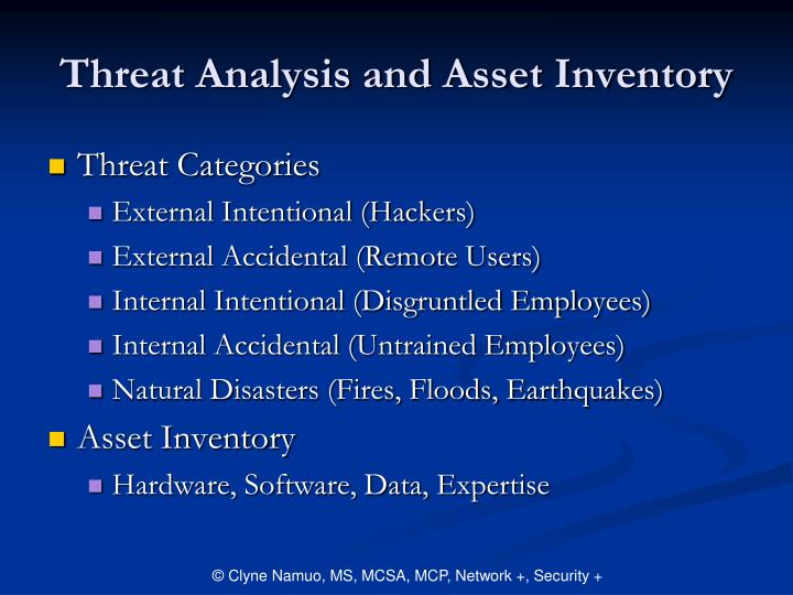 Threat Analysis and Asset Inventory