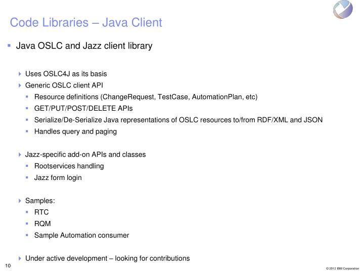 Code Libraries – Java Client