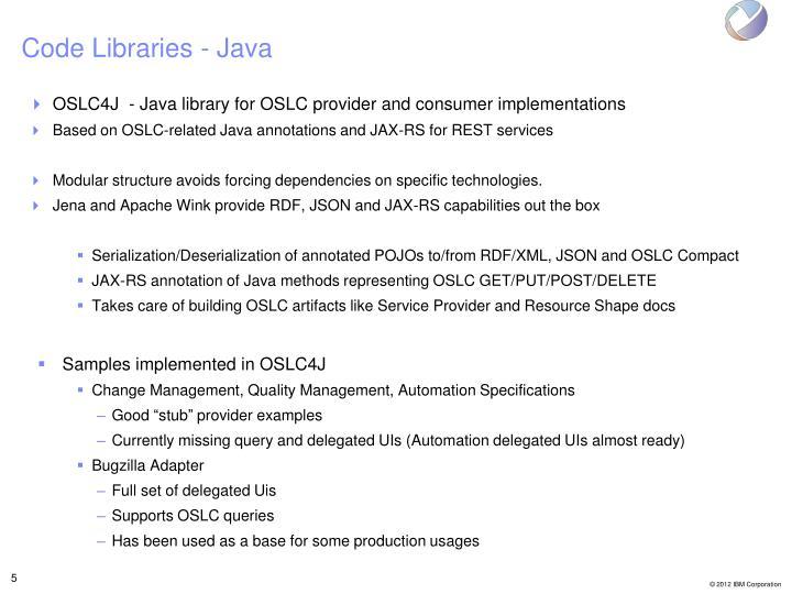 Code Libraries - Java
