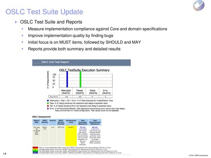OSLC Test Suite Update