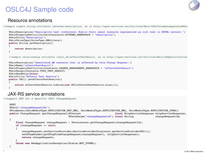 OSLC4J Sample code