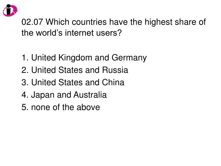 02.07 Which countries have the highest share of the world's internet users?