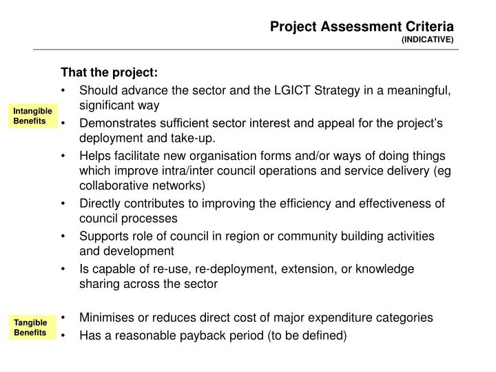 Project Assessment Criteria