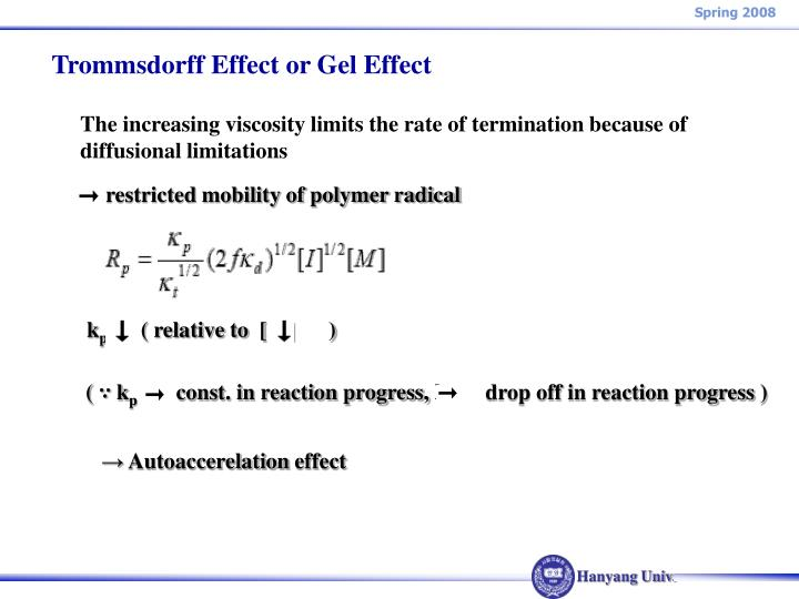 Trommsdorff Effect or Gel Effect