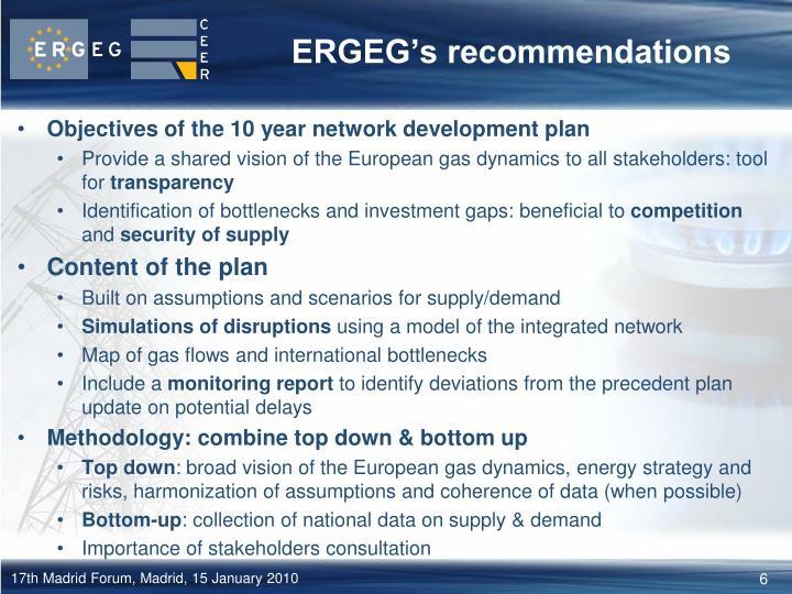 ERGEG's recommendations