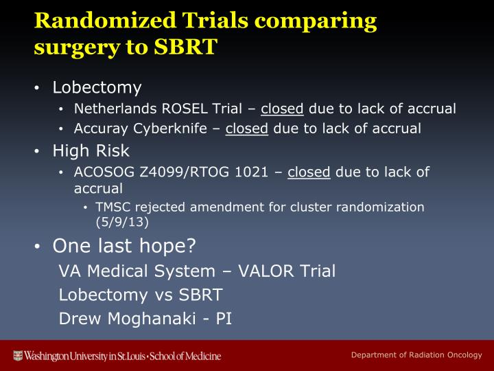 Randomized Trials comparing surgery to SBRT