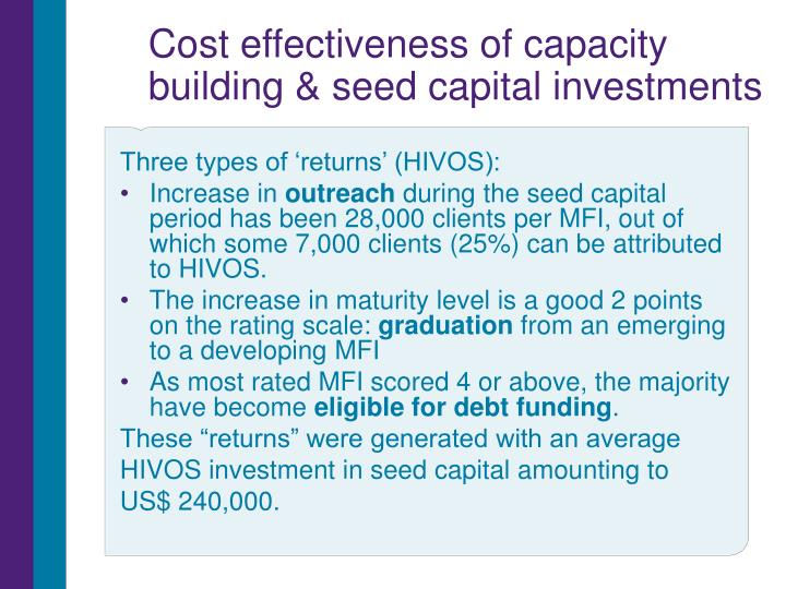 Cost effectiveness of capacity building & seed capital investments