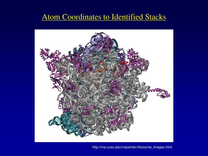 Atom Coordinates to Identified Stacks