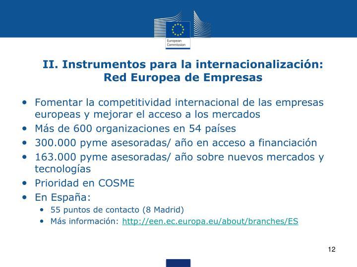 II. Instrumentos para la internacionalización: