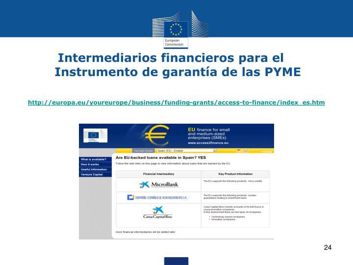 Intermediarios financieros para el Instrumento de garantía de las PYME
