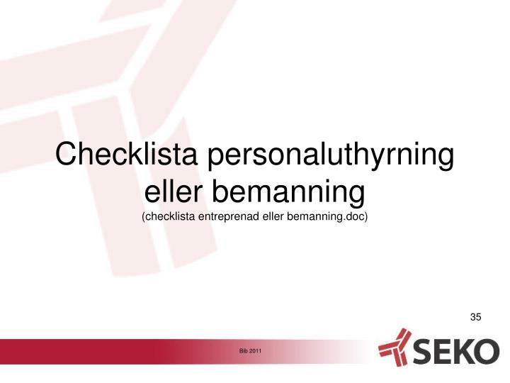 Checklista personaluthyrning eller bemanning
