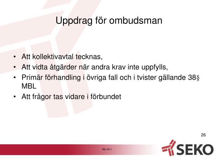 Uppdrag för ombudsman