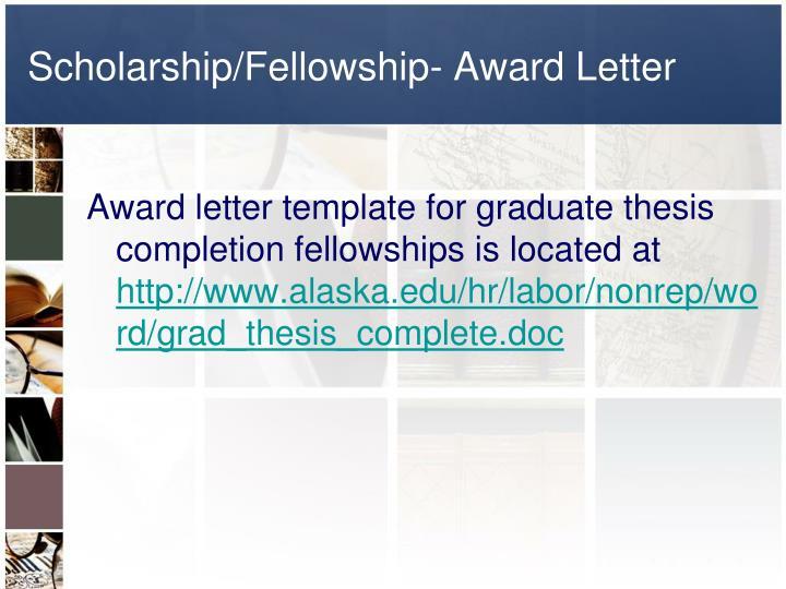 Scholarship/Fellowship- Award Letter