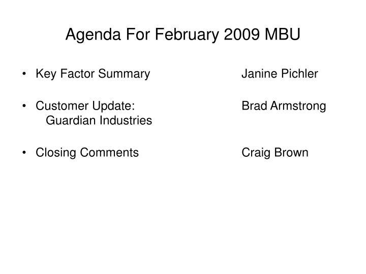 Agenda for february 2009 mbu